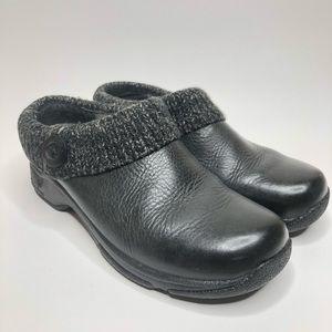 Dansko Kenzie Black Leather Sweater Collar Clogs